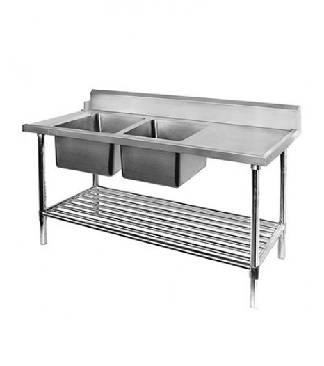 Left Inlet Double Sink Dishwasher Bench - DSBD7-2400L/A