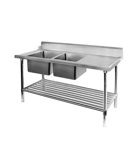 Left Inlet Double Sink Dishwasher Bench - DSBD7-1800L/A